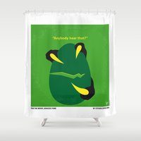 trex Shower Curtains featuring No047 My Jurasic Park minimal movie poster by Chungkong