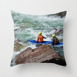 descent on a mountain river kayaking Throw Pillow