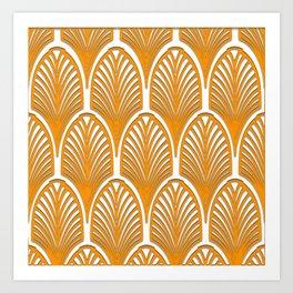 Orange,white,art deco, vintage,fan pattern, art nouveau, vintage, Art Print