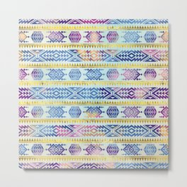 Gentle Colorful Aztec Peruvian Tribal Pattern Metal Print