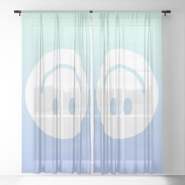 DON'T WORRY (blue) Sheer Curtain