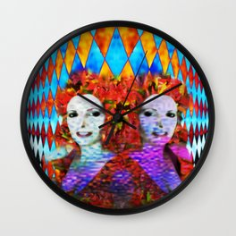 """""""Just One More Girl and a Flame Tree"""" by surrealpete Wall Clock"""