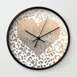 GOLD HEART LEO Wall Clock