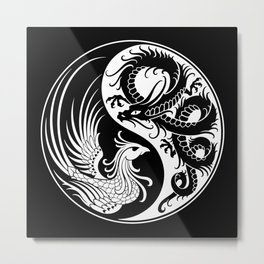 White and Black Dragon Phoenix Yin Yang Metal Print