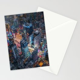 Times Square neon city lights, Midnight landscape painting Stationery Cards