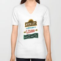 tequila V-neck T-shirts featuring TYPOGRAPHY TEQUILA by magdam