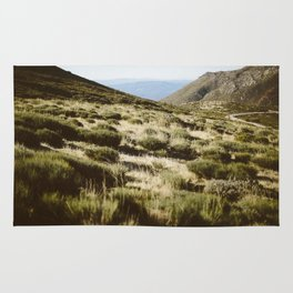 Mountains, green, beige, road, nature, sky, blue Rug