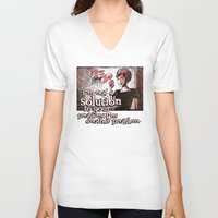 mad men V-neck T-shirts featuring Joan from Mad Men by Joe Badon