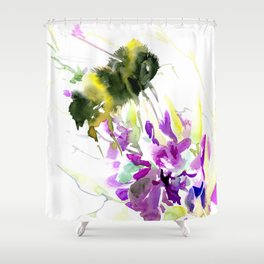 Bumblebee and Flowers floral bee design Shower Curtain