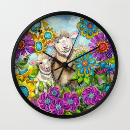 Sheep in the Summer Garden Wall Clock