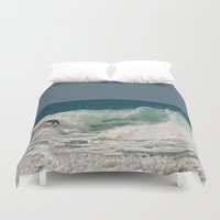 surfer Duvet Covers featuring Surfer by dawne photography