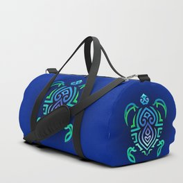 Tribal Turtle Ombre Background Duffle Bag