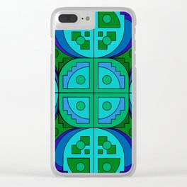 Blue Gear Pseudo-Quilt Clear iPhone Case