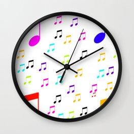 COLORFUL MUSIC SYMBOL PATTERN BACKGROUND Wall Clock