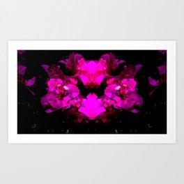 Abstract neon bougainvilleas on black Art Print