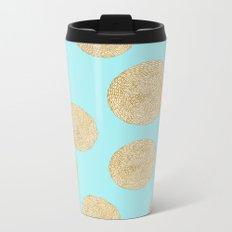 Straw Cushion Pattern Metal Travel Mug