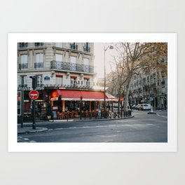 Cute small bistro in the city centre of Paris | Photography print Art Print