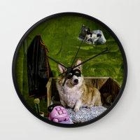 superheroes Wall Clocks featuring Superheroes SF by Carla Broekhuizen