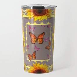 Southwestern Style Sunflowers Butterflies  Grey Ranch Design Travel Mug