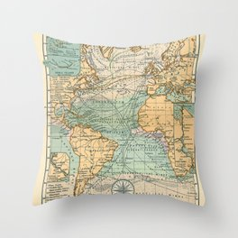 See Atlas 1906 - German Sea Atlas - The Atlantic, Scilly Isles, Sable Island, Panama and Suez Canals Throw Pillow