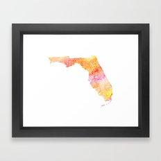 Typographic Florida - orange watercolor Framed Art Print