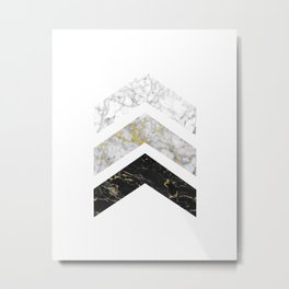 Gold Flecked Marble Chevrons Metal Print