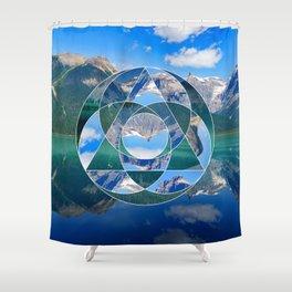 Geometric Landscape Photo Collage Shower Curtain