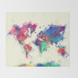 world map 105 #worldmap #map Throw Blanket
