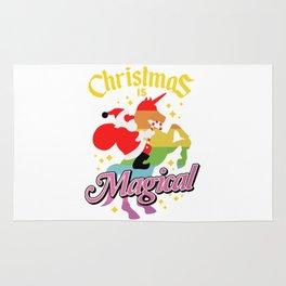 Christmas Is Magical Santa Claus Riding Unicorn Rug