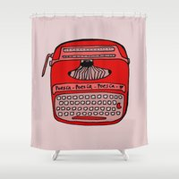 typewriter Shower Curtains featuring Poesía typewriter by andy_panda_