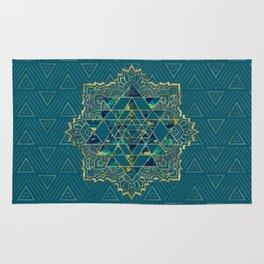 Sri Yantra  / Sri Chakra Gold, Marble and Teal Rug
