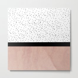 Pink marble and dots Metal Print