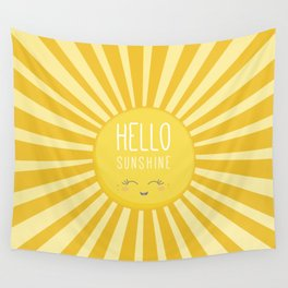 KAWAII SKY - happy smiling sun - hello sunshine quote Wall Tapestry