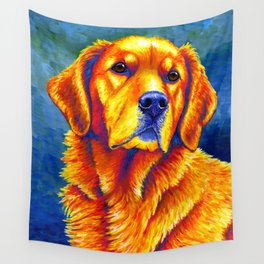 Colorful Golden Retriever Dog Portrait Wall Tapestry