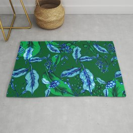 Coffee Leafs - Green and Blue Rug