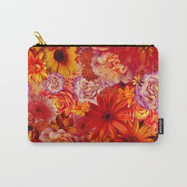 Rojo Bouquet Rich Red Hot Mixed Flowers Bright Floral Autumn Carry-All Pouch