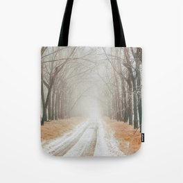 Winter on the road Tote Bag