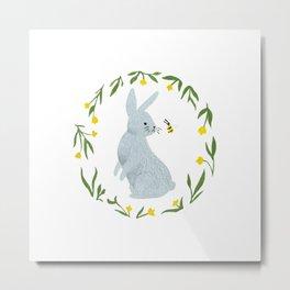 Curious Hare Metal Print