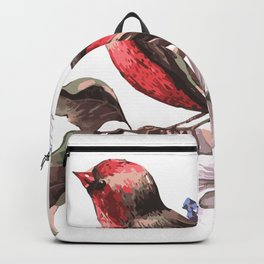 Beautiful bird on a branch with blooming flowers Backpack