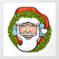 Santa Claus Wreath Art Print