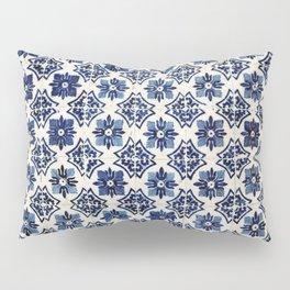 Vintage Blue Ceramic Tiles Pillow Sham