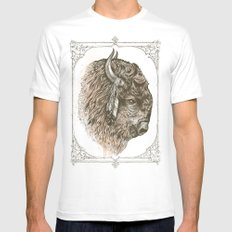 Buffalo Portrait MEDIUM Mens Fitted Tee White