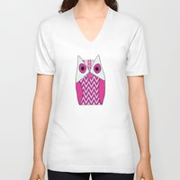 ikat V-neck T-shirts featuring Ikat Owl by maybesparrowphotography