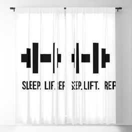 Eat Sleep Lift Repeat - Dumbell with bodybuilder slogan Blackout Curtain