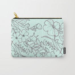 Dotted Floral Scroll in Mint and Grey Carry-All Pouch