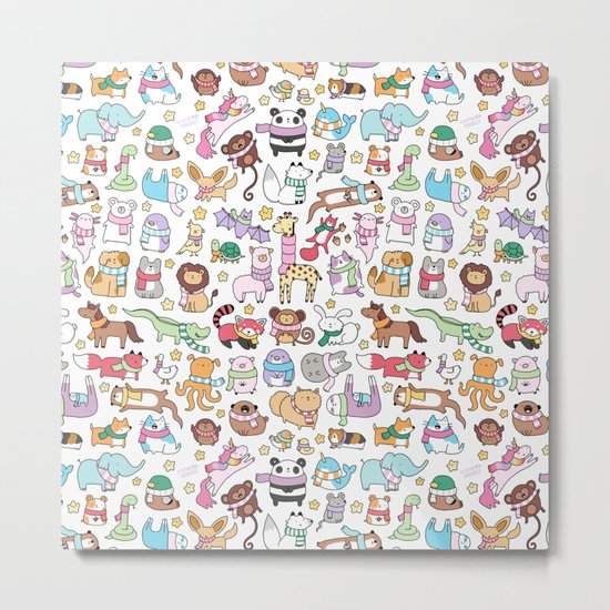 Winter Animals with Scarves Doodle Metal Print