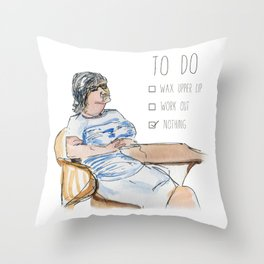 Lazy Woman with To Do List Throw Pillow