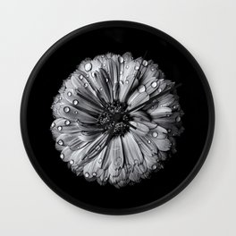 Backyard Flowers In Black And White 10 After The Storm Wall Clock