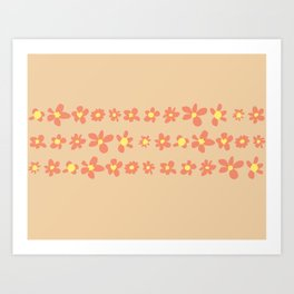 Daisy Chain in Oranges Art Print