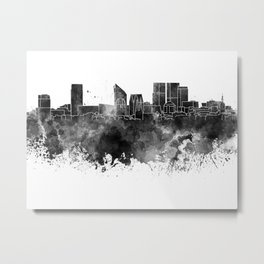 The Hague skyline in watercolor background Metal Print